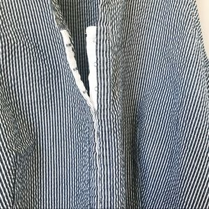 Venezia Tops - VENEZIA Stretch Striped Chambray Collar Tank Top